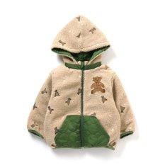 テディベア飛び刺繍リバーシブル防寒ジャケット