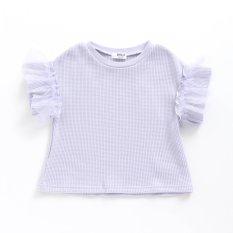 袖チュールフリルTシャツ