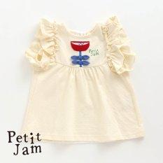PetitJam 袖フリルとリボンのお花チュニック